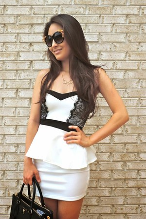 black saffiano Prada bag - white lacy peplum deb dress