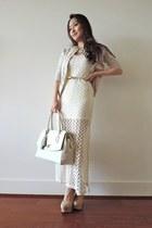 eggshell crochet JYJZ cardigan - off white crochet maxi deb dress