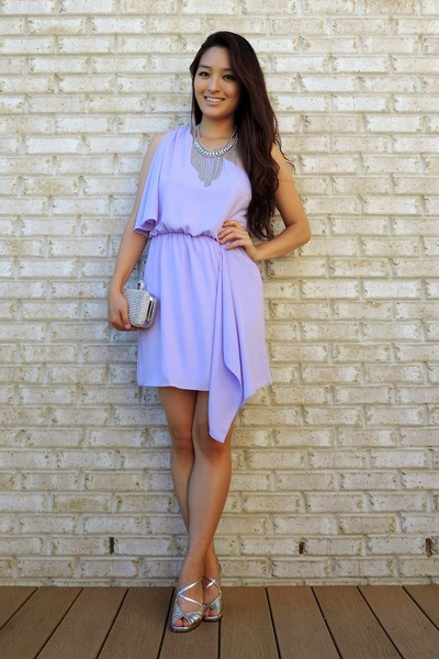 violet Charlotte Russe dress - silver sparkly clutch Lily Rain bag