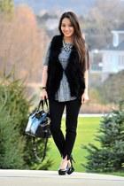 black Badgely Mischka bag - black tapered dress Old Navy pants