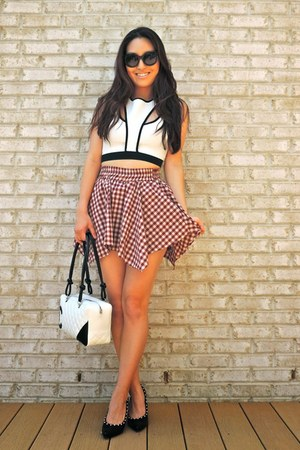 ruby red checkered JYJZ skirt - white Chanel bag