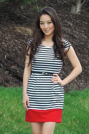 black striped Byer California dress - black JS by Jessica heels