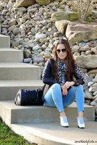 black Burberry coat - sky blue dittos jeans