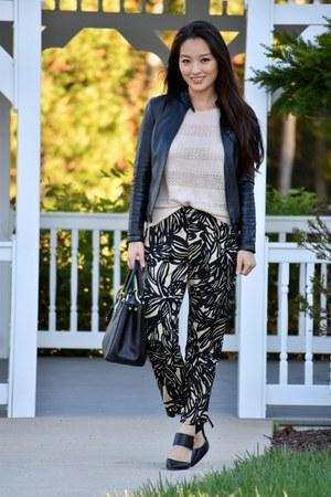 black Prada bag - beige ann taylor sweater - black Gap pants