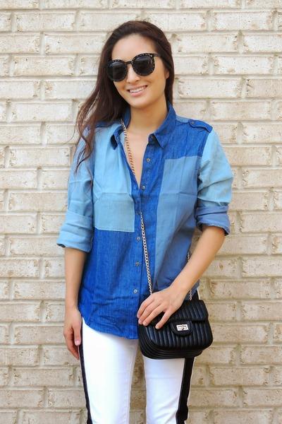 blue patchwork denim ami clubwear top - white Rock & Republic jeans