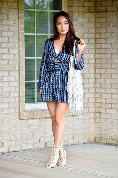 beige fringe tote urban originals bag - navy ruffle mini asos dress