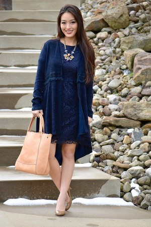 navy lace madewell dress - neutral Handbag Heaven bag - tan kate spade heels