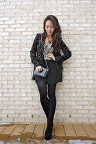 gold deb top - black cutout ankle deb boots - black patterned Rachel Zoe coat