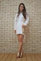white Boohoo dress - tan Handbag Heaven bag