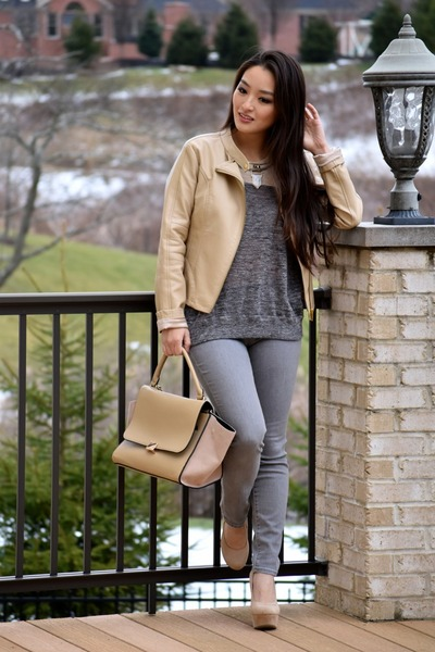 tan moto Charlotte Russe jacket - heather gray madewell sweater