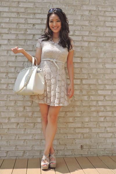 j crew inspired Statement Baubles necklace - Lenova dress - Louis Vuitton bag