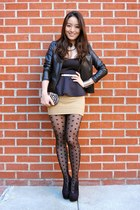 gold Rena Reborn necklace - black cut out ankle deb boots