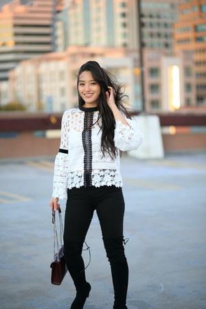 white crochet Chicwish top - black skinny Mott & Bow jeans - maroon YSL bag