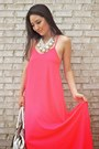 Hot-pink-maxi-boohoo-dress-white-satchel-coach-bag