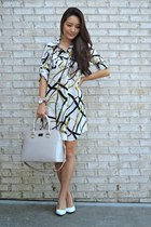 gold dainty Nashelle necklace - white printed shirt OASAP dress
