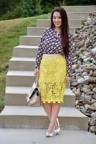 yellow Scoobie skirt - navy printed talbots blouse