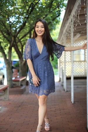blue lace mini Socialite Clothing dress - bubble gum Zara heels