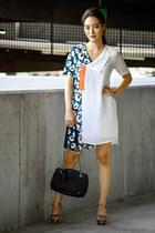 white Dezzal dress - black Bally bag - pink Nine West sandals