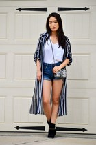navy striped doota top - black distressed Nine West boots - white tee Polo shirt
