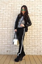 black SaVous jacket - white Chanel bag