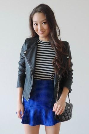 black Boohoo jacket - black RD Style Label shirt - blue AmiClubWear skirt