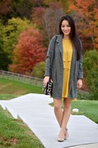 mustard tiered crepe banana republic dress - olive green free people jacket