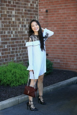white ruffle lace asos dress - maroon YSL bag - black lace up Guilty Soles heels