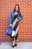 black striped maxi poof apparel dress - blue celine-inpired the quiet riot bag