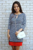navy printed shift Julie Brown dress - white crossbody deb bag