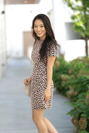 beige strappy Guilty Soles heels - navy a line kate spade dress