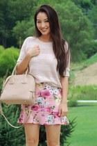 bubble gum floral Khromato skirt - dark khaki leather bowler Burberry bag