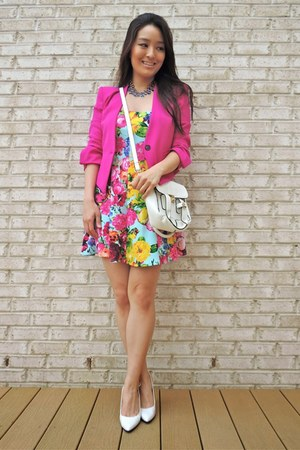 hot pink cropped Reese & Riley blazer - white crossbody LucyMint bag