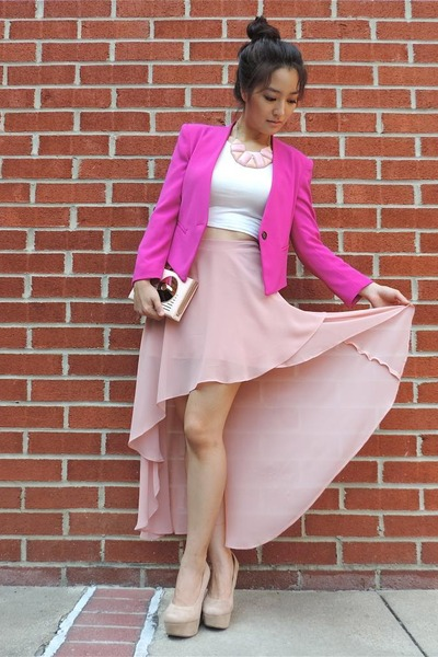 hot pink Reese & Riley blazer - light pink kate spade bag