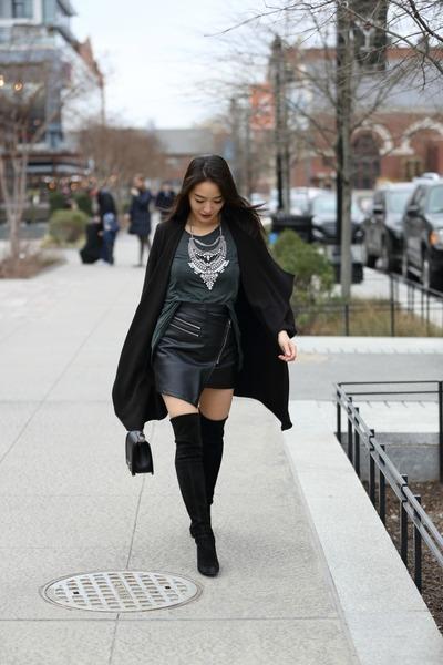 black stuart weitzman boots - black shop sosie jacket - black boy Chanel bag