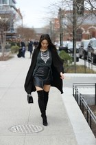 black stuart weitzman boots - black shop sosie jacket - black boy Chanel bag