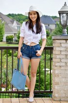 light blue Sebago flats - white Brooklyn Hat Company hat