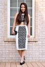 White-toprom-dress-black-lace-clutch-mimi-boutique-bag