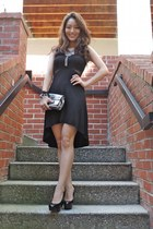 black deb dress - heather gray coach bag - heather gray Chicos necklace
