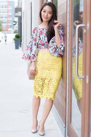 white floral crop Boohoo top - yellow lace pencil Scoobie skirt