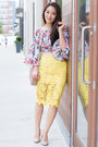 Yellow-lace-pencil-scoobie-skirt-white-floral-crop-boohoo-top