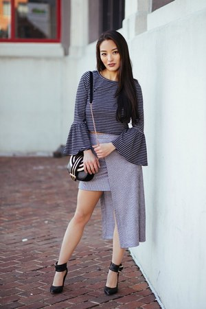 heather gray striped crop Charlotte Russe top - silver asymmetrical Zara skirt