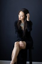 gold pearl statement JWholesale necklace - black evening AmiClubWear dress
