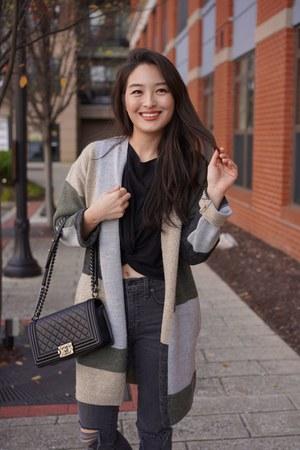 dark gray sam edelman jeans - black boy Chanel bag