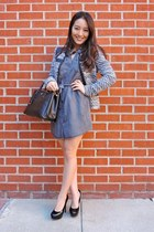 black structured IRO jacket - gray Velvet Heart dress - black saffiano Prada bag
