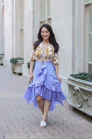 light blue Chicwish skirt - yellow palm print top asos top