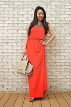 carrot orange maxi tank Annie Jean Apparel dress - tan Chicwish bag