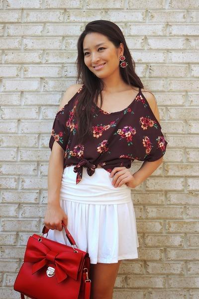 maroon floral Charlotte Russe top - red OASAP bag - red Lorraine Tyne earrings