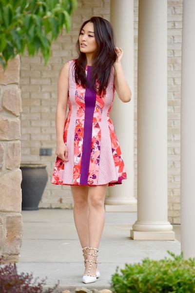 hot pink floral mini lie dress - white OASAP heels