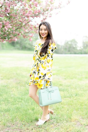 yellow asos dress - white Nine West sandals