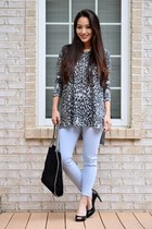 charcoal gray H&M top - periwinkle cropped skinny Levis jeans